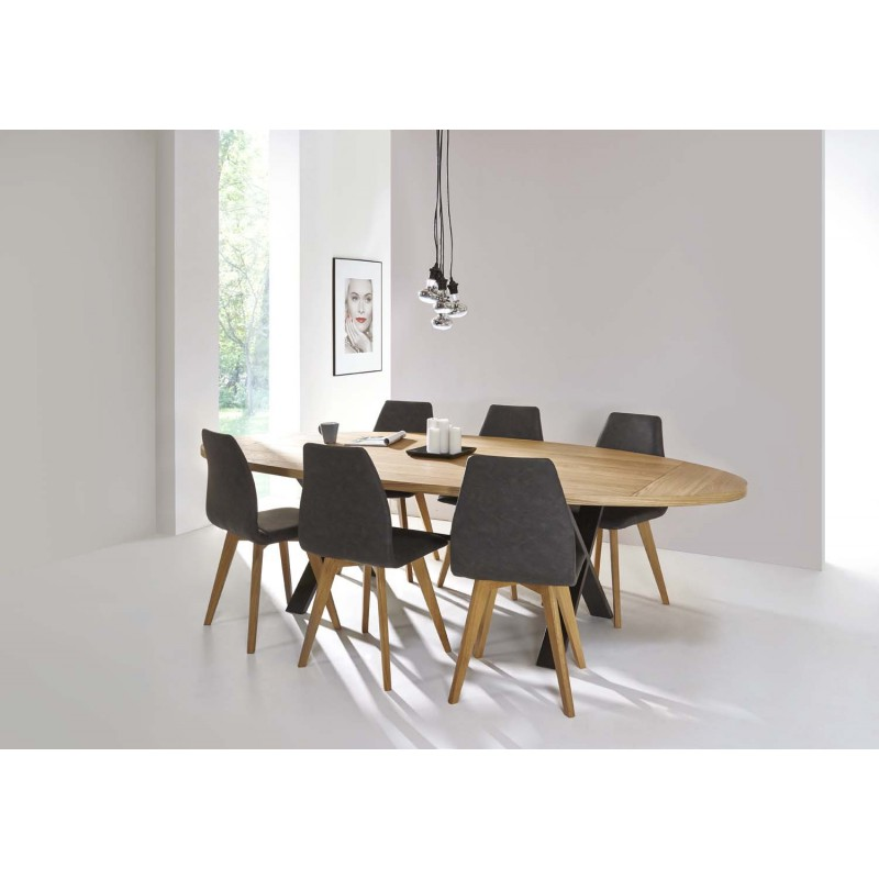 Table de salle manger cross ovale d co en ligne for Table salle a manger design