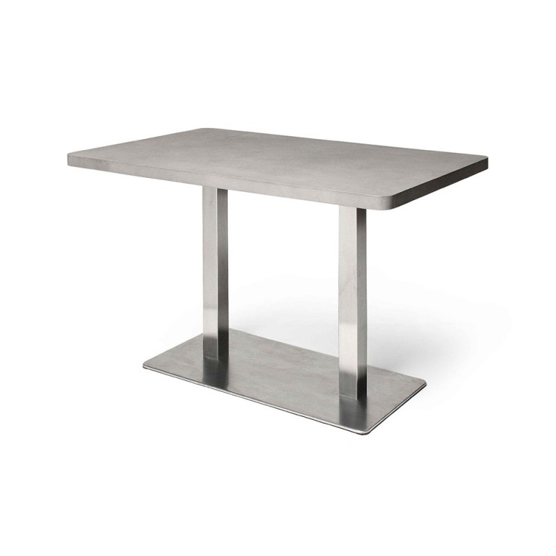 Table bistrot b ton inox rectangulaire d co en ligne for Table exterieur beton