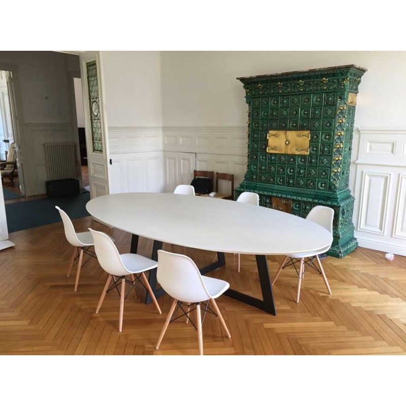 Table de salle manger ovale carat blanche d co en for Salle a manger table ovale