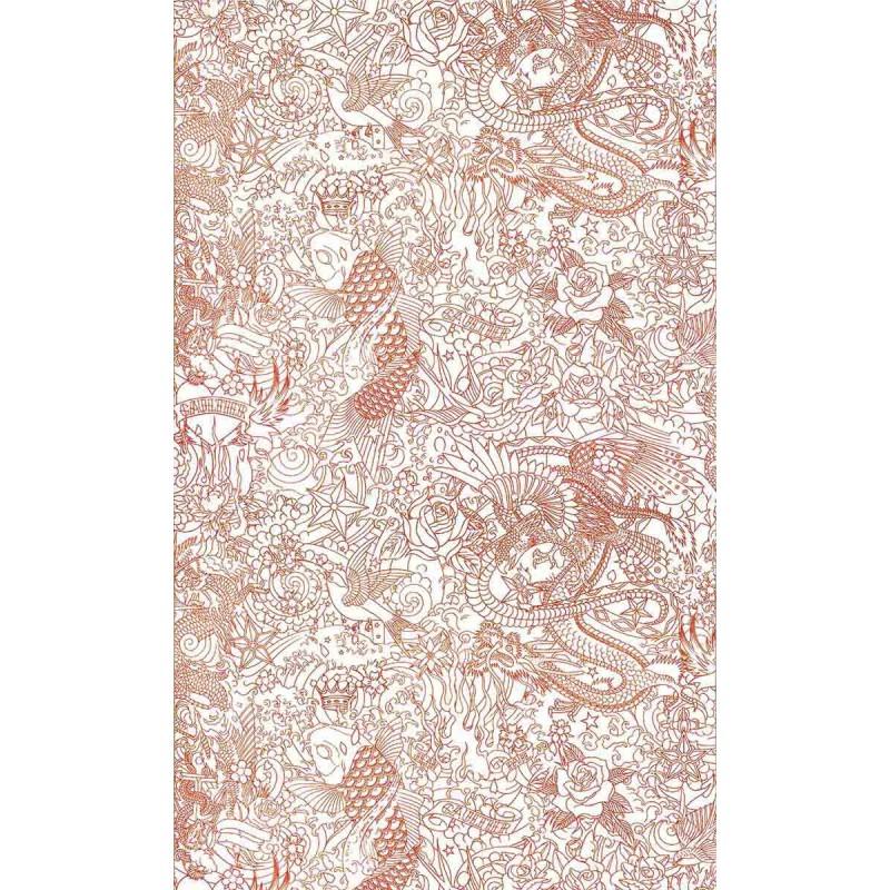 papier peint horimono orange jean paul gaultier d co en ligne papiers peints design. Black Bedroom Furniture Sets. Home Design Ideas