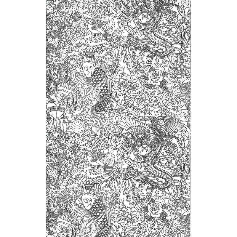 papier peint horimono noir jean paul gaultier d co en ligne papiers peints design. Black Bedroom Furniture Sets. Home Design Ideas