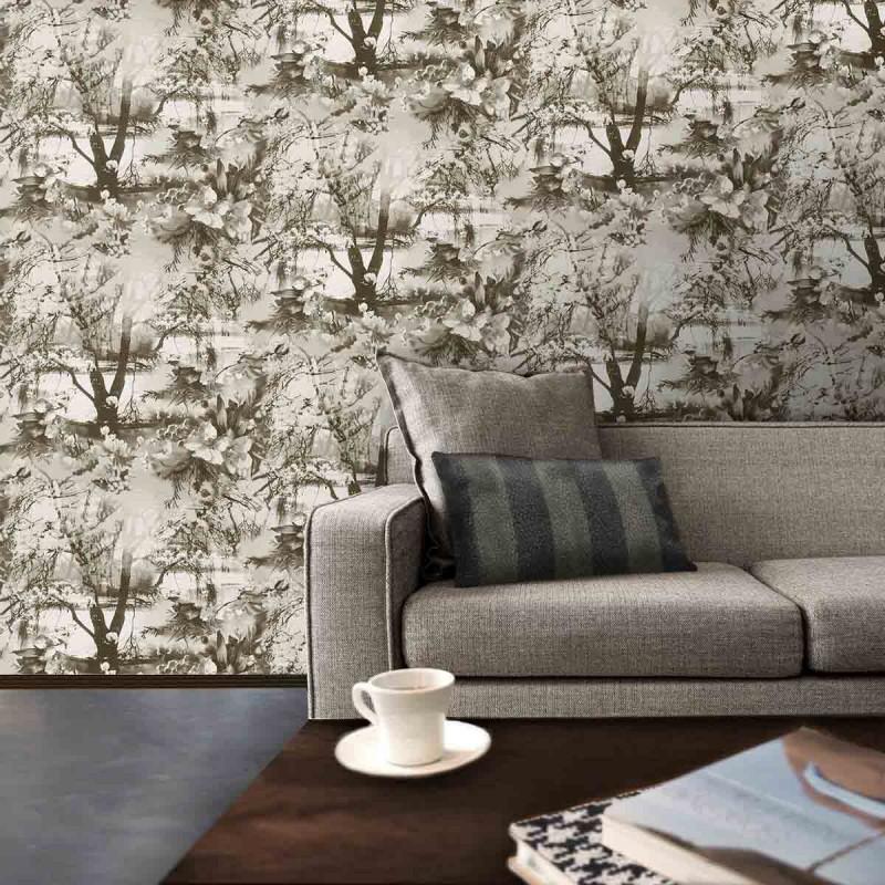 papier peint brume ecru noir jean paul gaultier d co en. Black Bedroom Furniture Sets. Home Design Ideas