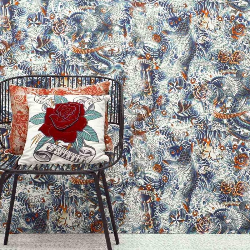 papier peint ir sumi bleu jean paul gaultier d co en ligne papiers peints design. Black Bedroom Furniture Sets. Home Design Ideas
