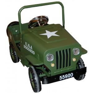 Voiture à pédales métal Jeep kaki