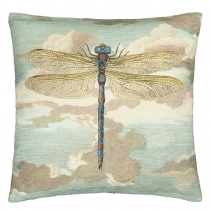 Coussin Dragonfly Over Clouds Sky Blue, John Derian