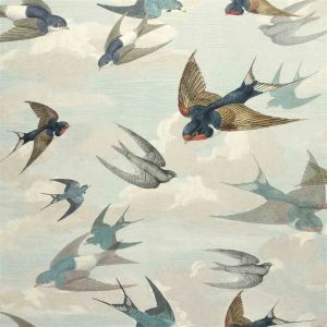 Papier peint Chimney Swallows Sky Blue, John Dorian