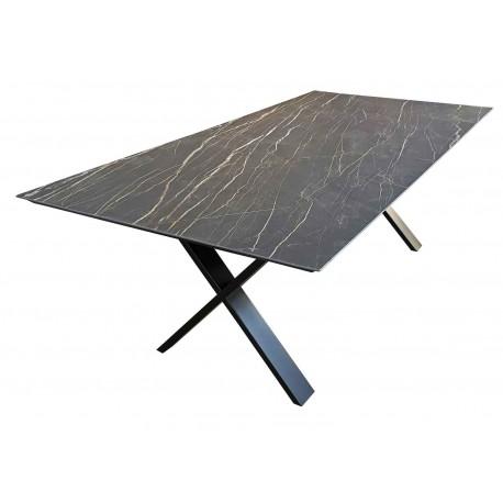 table salle manger c ramique cross rallonges d co en. Black Bedroom Furniture Sets. Home Design Ideas