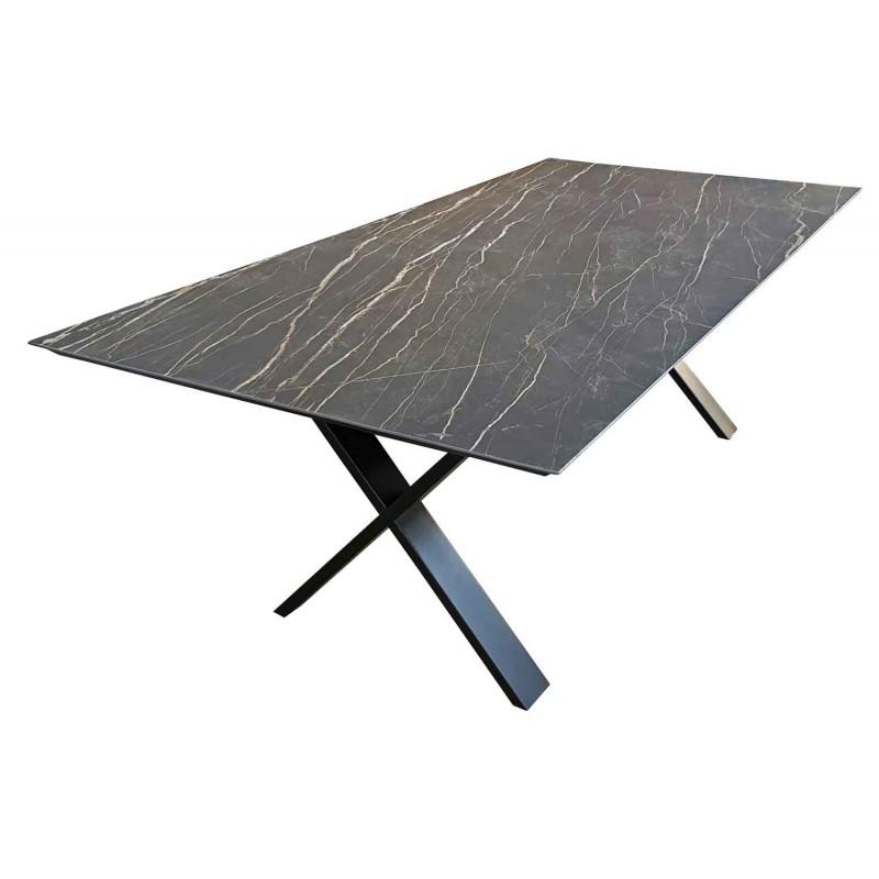 Table de salle manger c ramique cross rallonges tables - Table salle a manger plateau ceramique ...