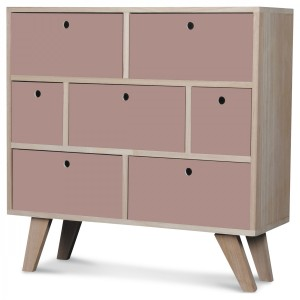 Commode Vik scandinave rose 7 tiroirs