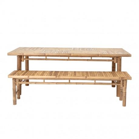 Table à manger + 2 bancs en bambou naturel, Bloomingville