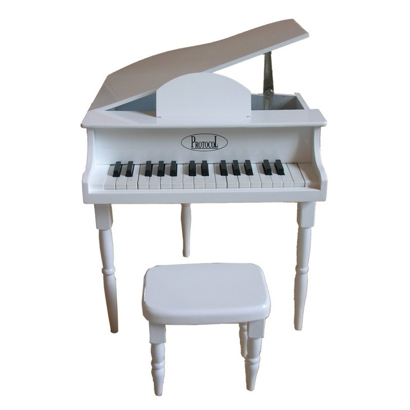 petit piano et tabouret blanc protocol d co en ligne instruments de musique enfant. Black Bedroom Furniture Sets. Home Design Ideas